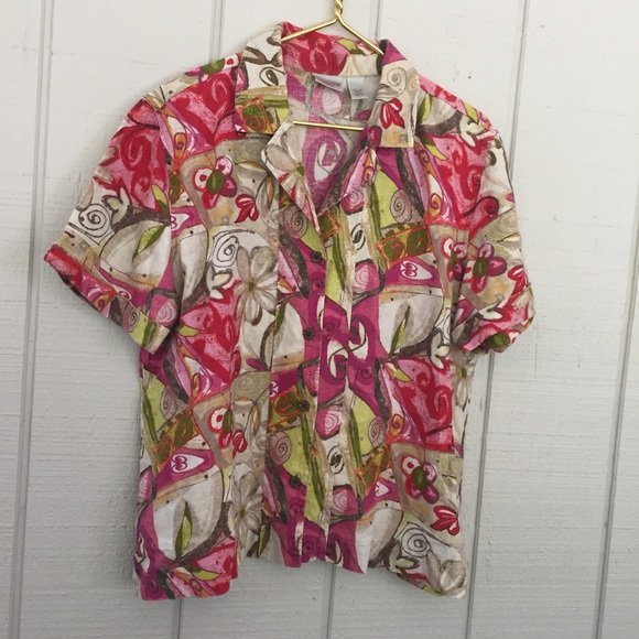 Chico's Tops - Chico's Floral Linen Short Sleeve Blouse sz3